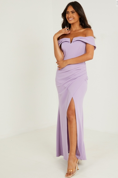 Lilac Bardot Maxi Dress